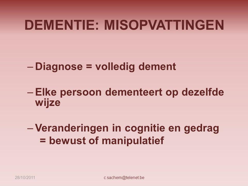 DEMENTIE: MISOPVATTINGEN