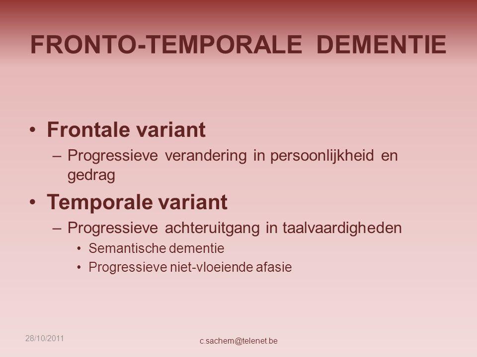 FRONTO-TEMPORALE DEMENTIE