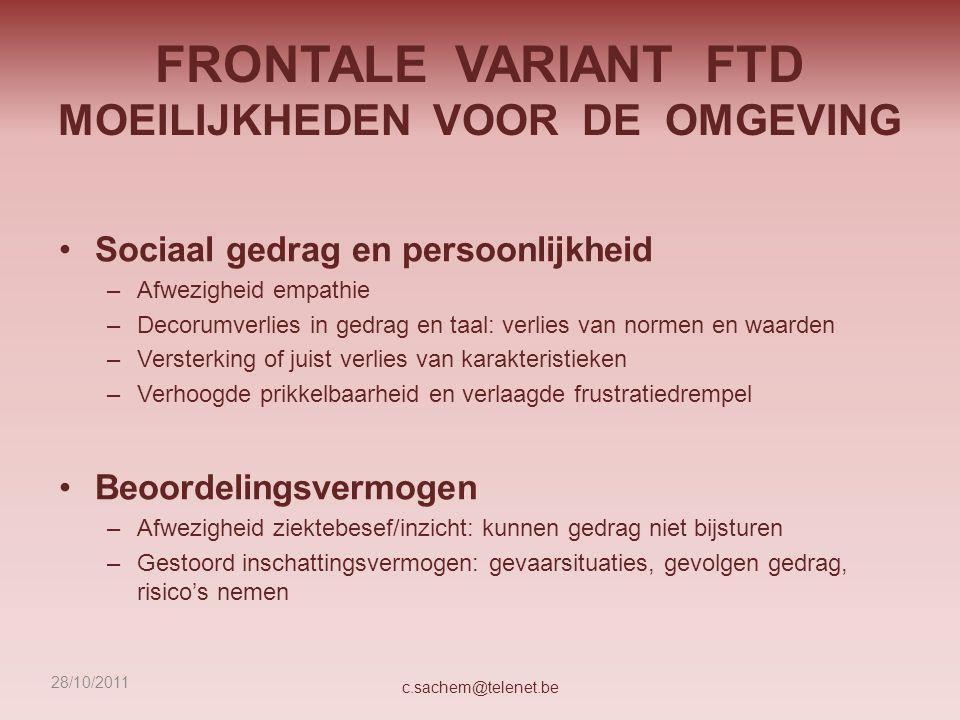 FRONTALE VARIANT FTD MOEILIJKHEDEN VOOR DE OMGEVING