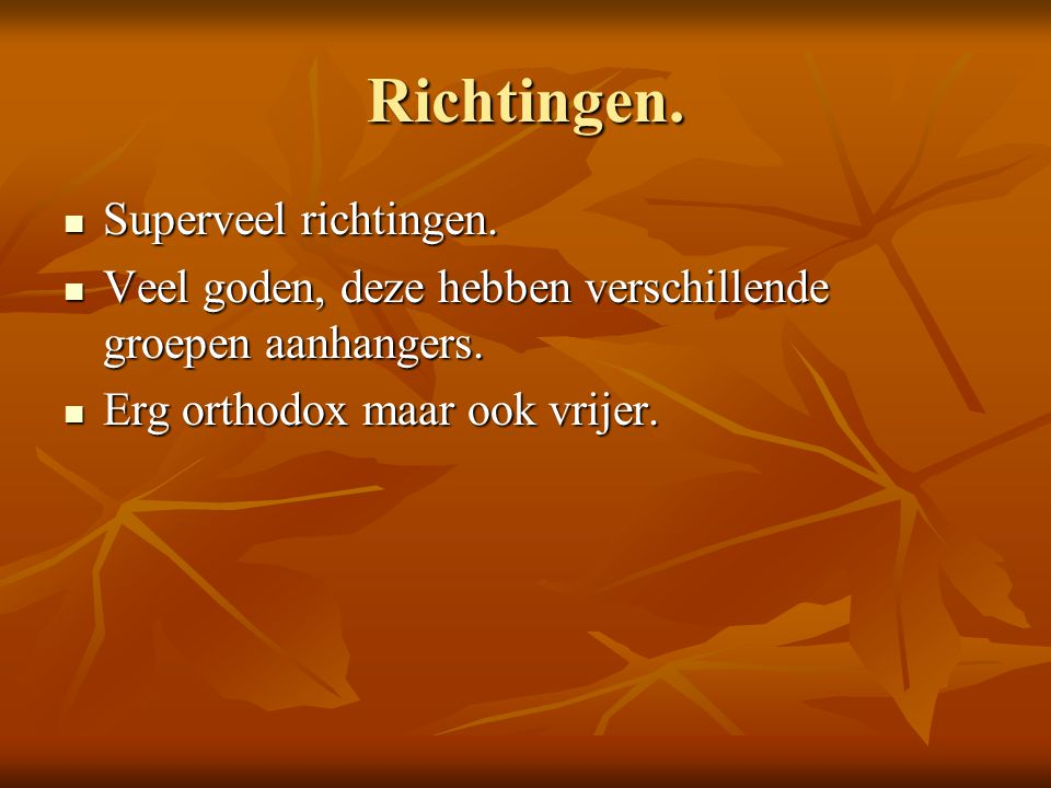 Richtingen. Superveel richtingen.