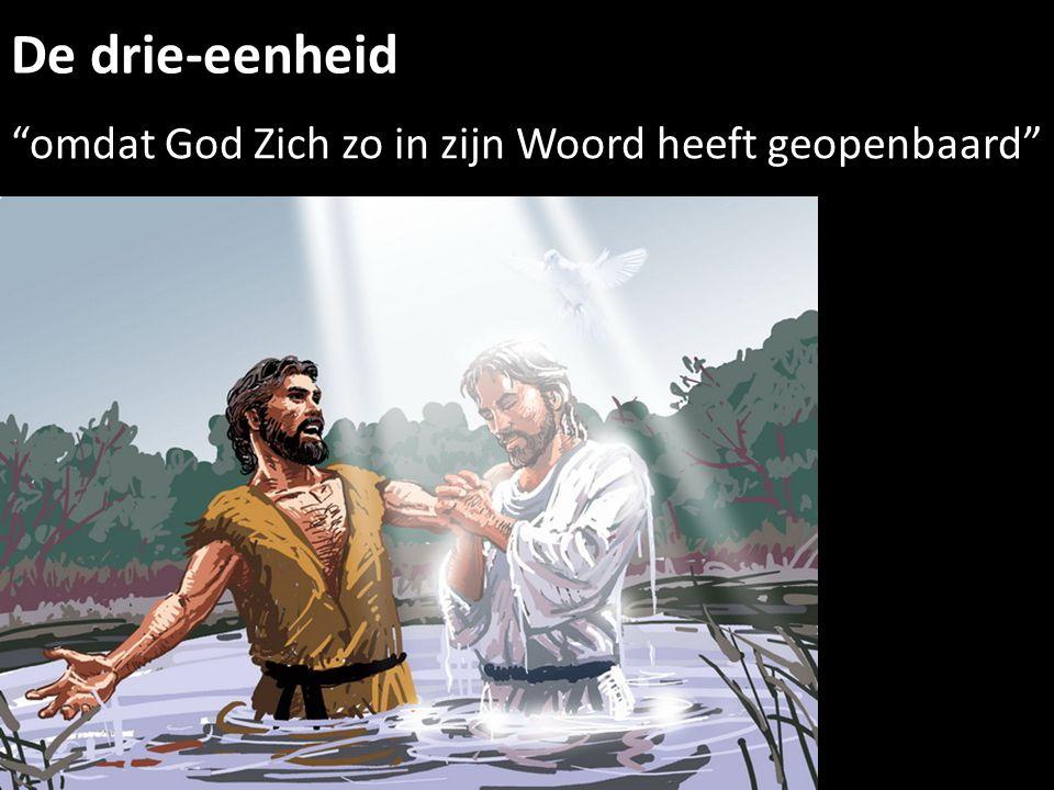De drie-eenheid omdat God Zich zo in zijn Woord heeft geopenbaard