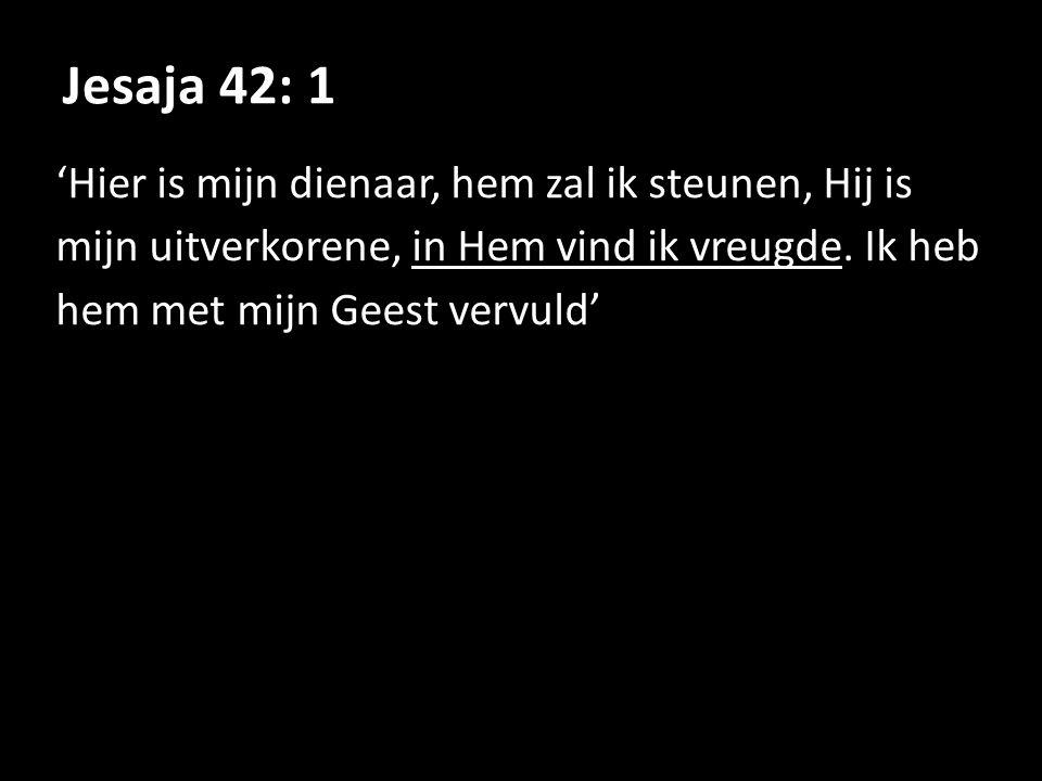 Jesaja 42: 1 'Hier is mijn dienaar, hem zal ik steunen, Hij is mijn uitverkorene, in Hem vind ik vreugde.