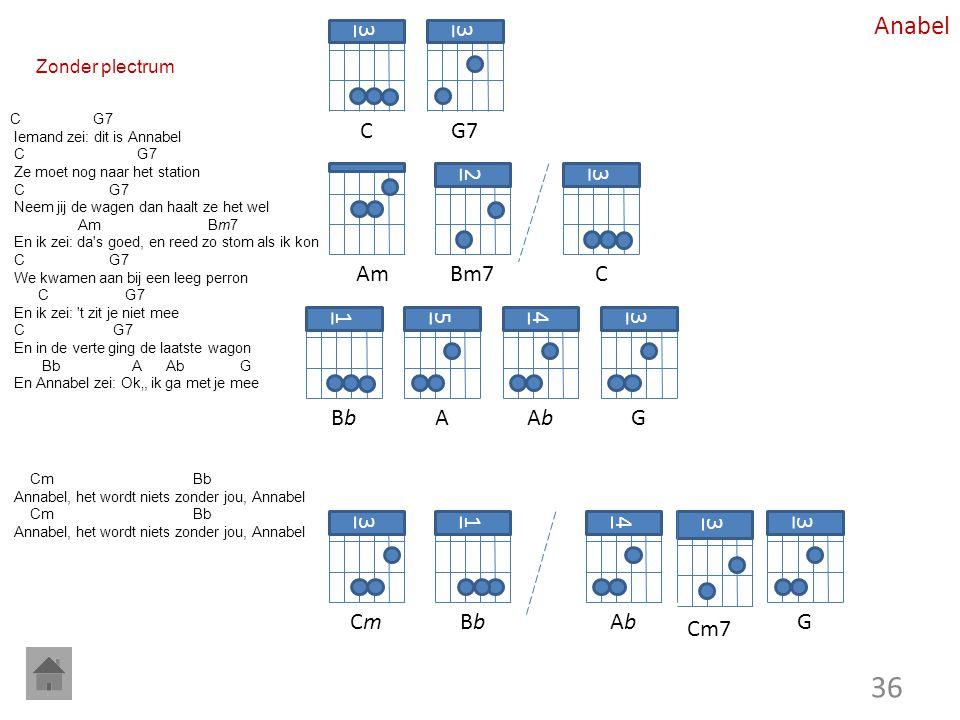 Anabel 3 C 3 G7 Am 2 Bm7 3 C 1 Bb 5 A 4 Ab 3 G 3 Cm 1 Bb 4 Ab 3 Cm7 3