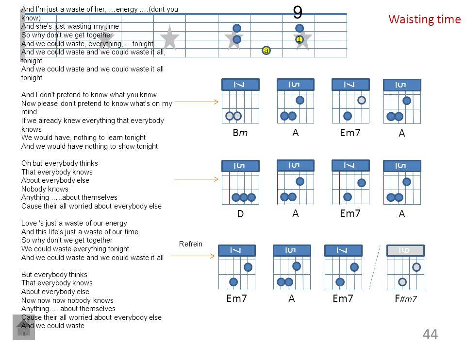 9 Waisting time 7 Bm 5 A 7 Em7 5 A 5 D 5 A 7 Em7 5 A 7 Em7 5 A 7 Em7 9