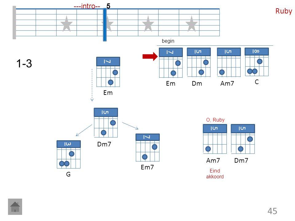 1-3 Ruby ---intro-- 5 7 Em 5 Dm 5 Am7 8 C 7 Em 5 Dm7 5 Am7 5 Dm7 7 Em7