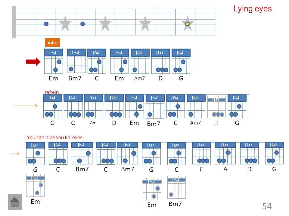Lying eyes 7 Em 7 Bm7 8 C 7 Em 5 5 D 3 G 3 G 3 C 5 5 D 7 Em 7 Bm7 8 C