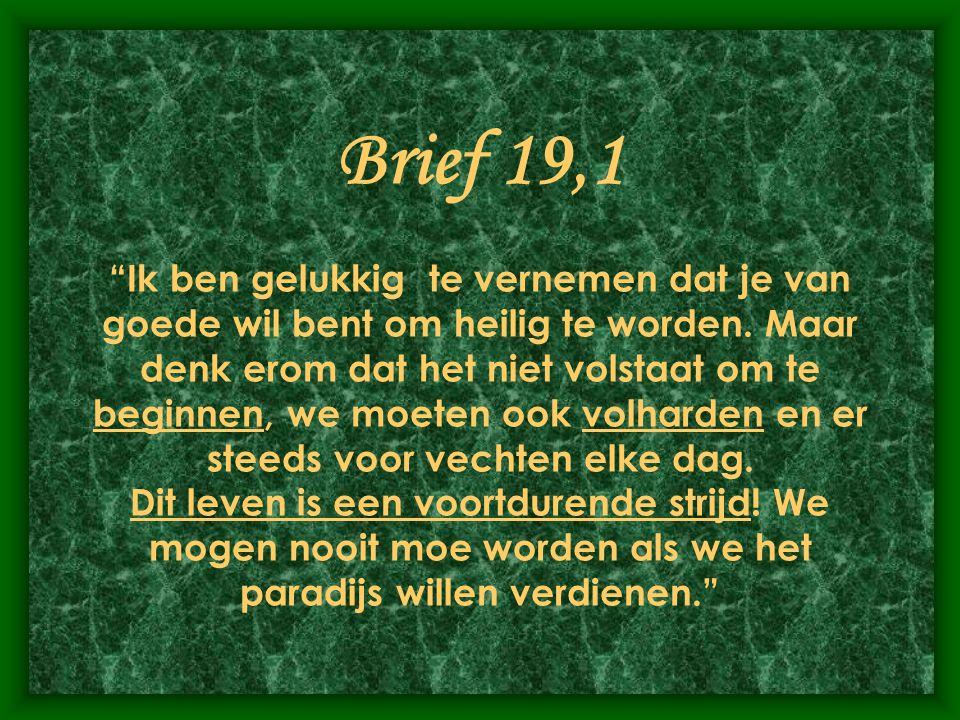 Brief 19,1 Ik ben gelukkig te vernemen dat je van goede wil bent om heilig te worden.