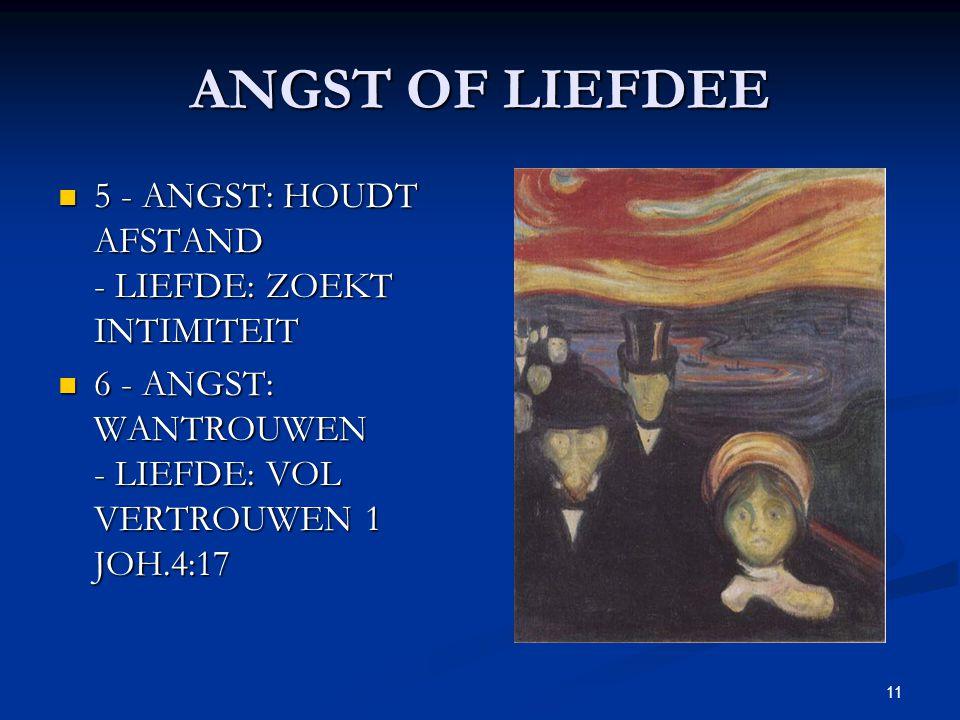 ANGST OF LIEFDEE 5 - ANGST: HOUDT AFSTAND - LIEFDE: ZOEKT INTIMITEIT