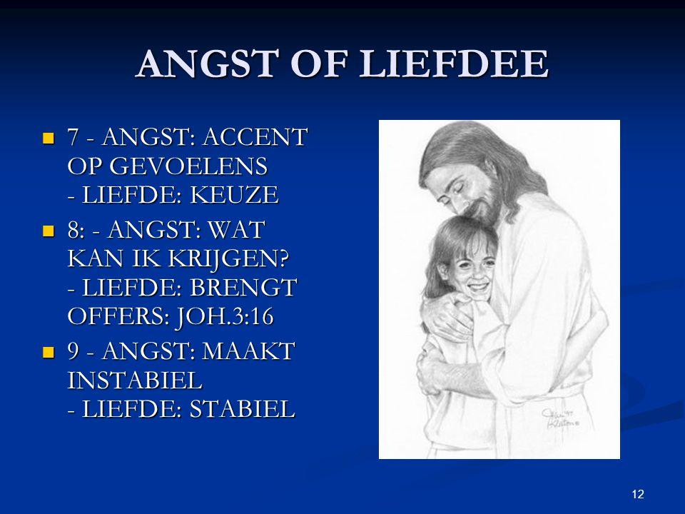 ANGST OF LIEFDEE 7 - ANGST: ACCENT OP GEVOELENS - LIEFDE: KEUZE