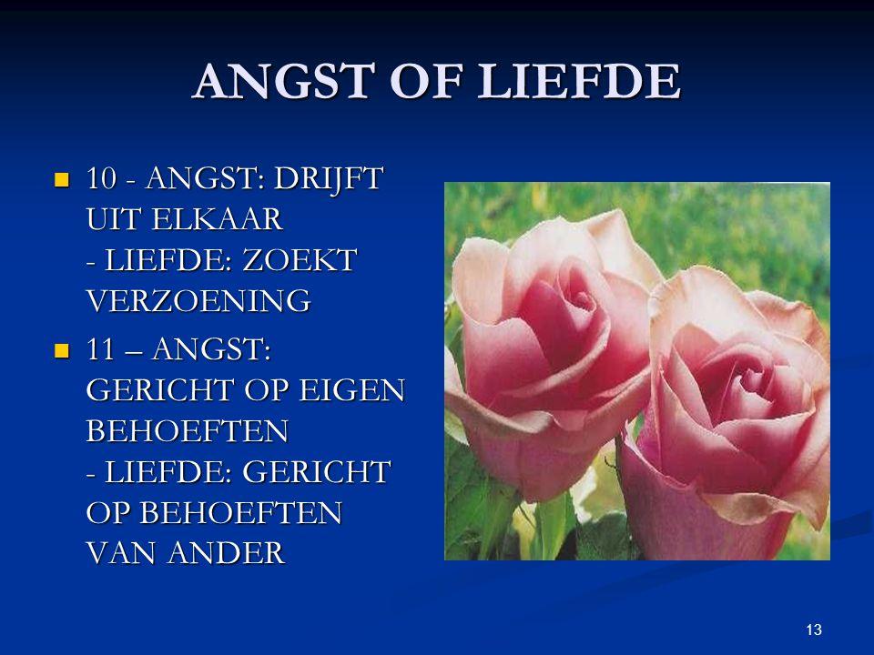 ANGST OF LIEFDE 10 - ANGST: DRIJFT UIT ELKAAR - LIEFDE: ZOEKT VERZOENING.