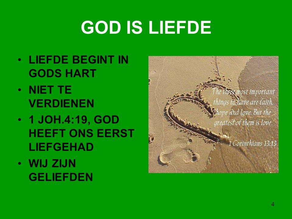 GOD IS LIEFDE LIEFDE BEGINT IN GODS HART NIET TE VERDIENEN