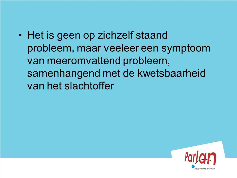 Het is geen op zichzelf staand probleem, maar veeleer een symptoom van meeromvattend probleem, samenhangend met de kwetsbaarheid van het slachtoffer