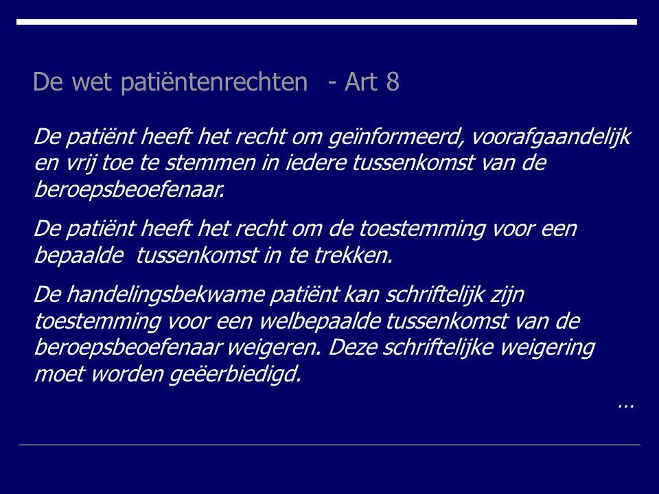 De wet patiëntenrechten - Art 8
