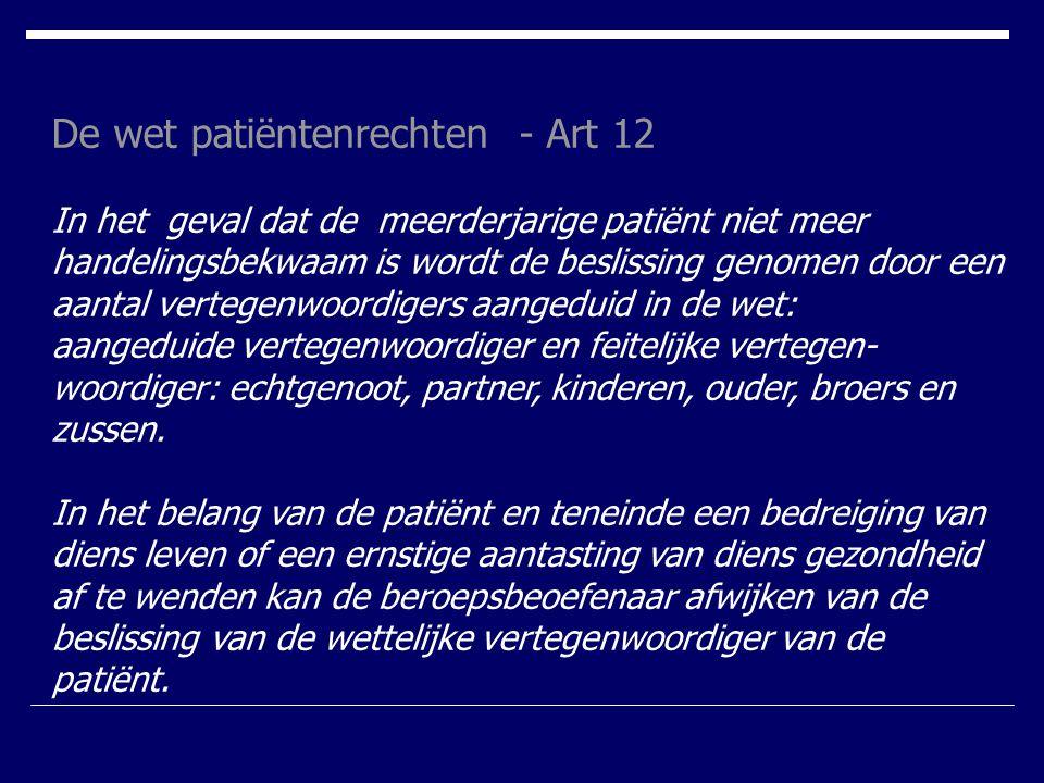 De wet patiëntenrechten - Art 12
