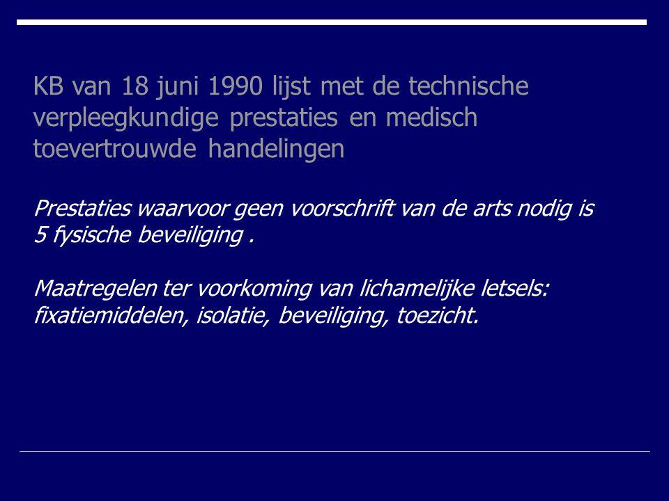 KB van 18 juni 1990 lijst met de technische verpleegkundige prestaties en medisch toevertrouwde handelingen