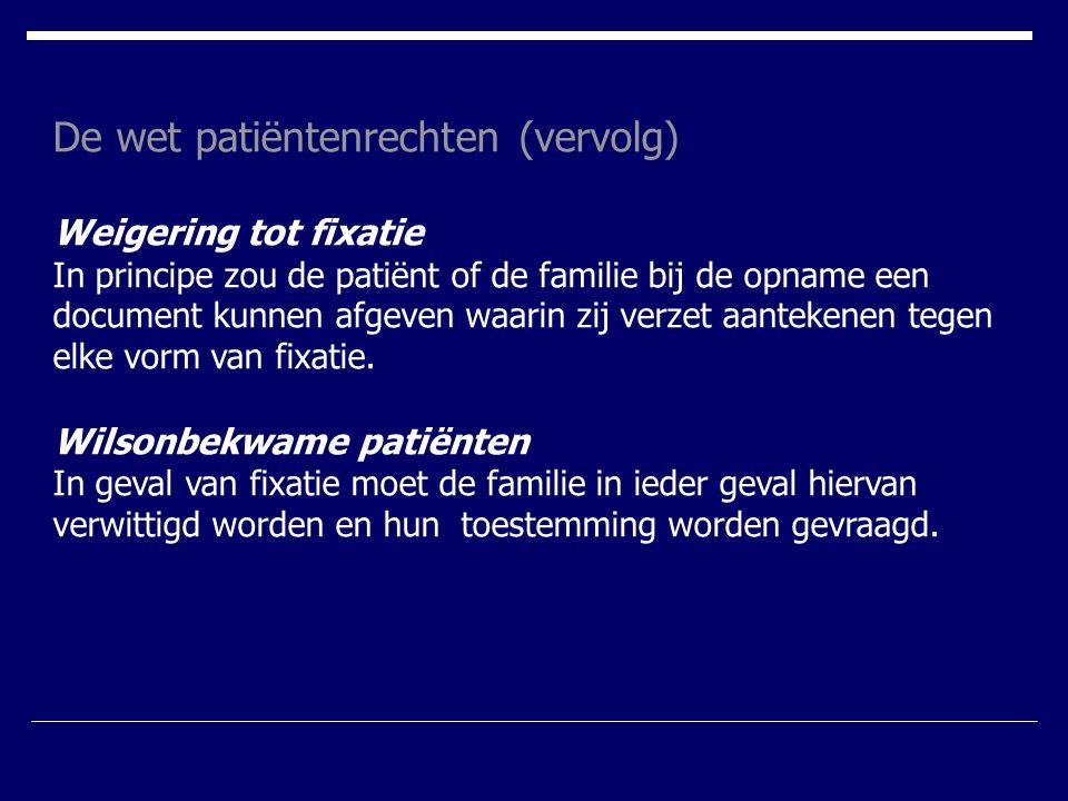 De wet patiëntenrechten (vervolg)
