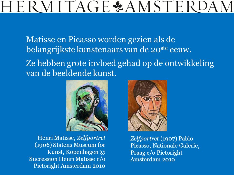 Matisse en Picasso worden gezien als de belangrijkste kunstenaars van de 20ste eeuw.