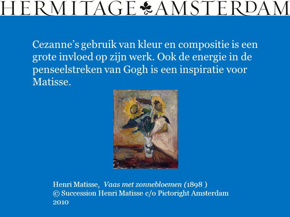 Cezanne's gebruik van kleur en compositie is een grote invloed op zijn werk. Ook de energie in de penseelstreken van Gogh is een inspiratie voor Matisse.