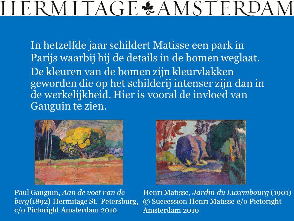In hetzelfde jaar schildert Matisse een park in Parijs waarbij hij de details in de bomen weglaat.