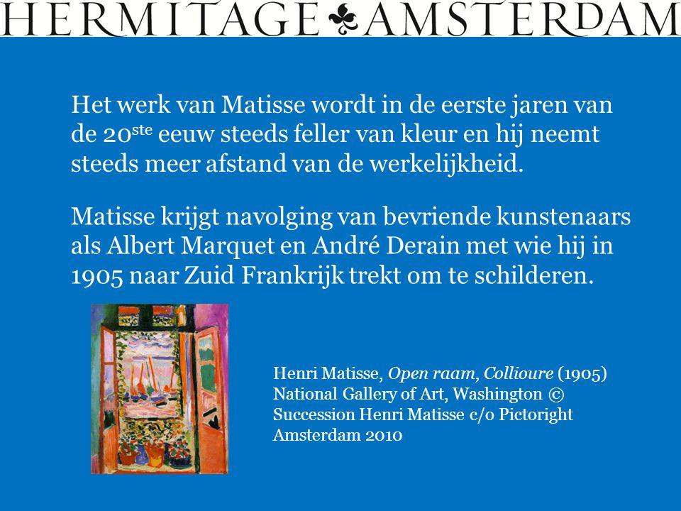 Het werk van Matisse wordt in de eerste jaren van de 20ste eeuw steeds feller van kleur en hij neemt steeds meer afstand van de werkelijkheid.