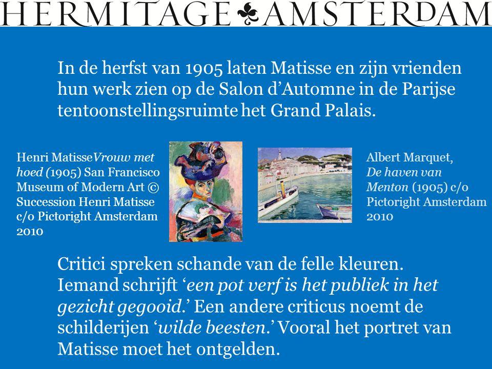 In de herfst van 1905 laten Matisse en zijn vrienden hun werk zien op de Salon d'Automne in de Parijse tentoonstellingsruimte het Grand Palais.
