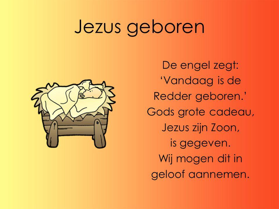 Jezus geboren De engel zegt: 'Vandaag is de Redder geboren.'