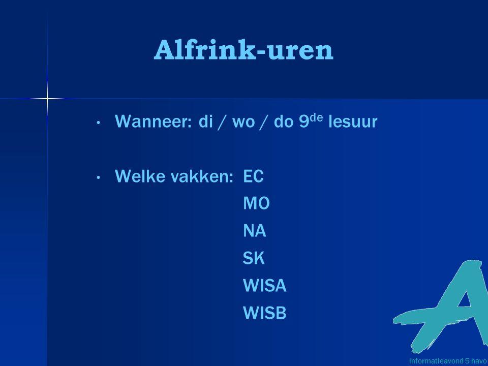 Alfrink-uren Wanneer: di / wo / do 9de lesuur Welke vakken: EC MO NA