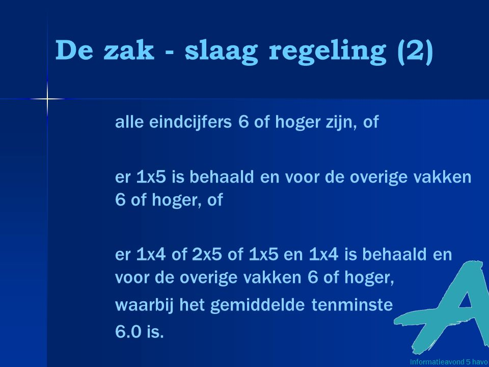 De zak - slaag regeling (2)