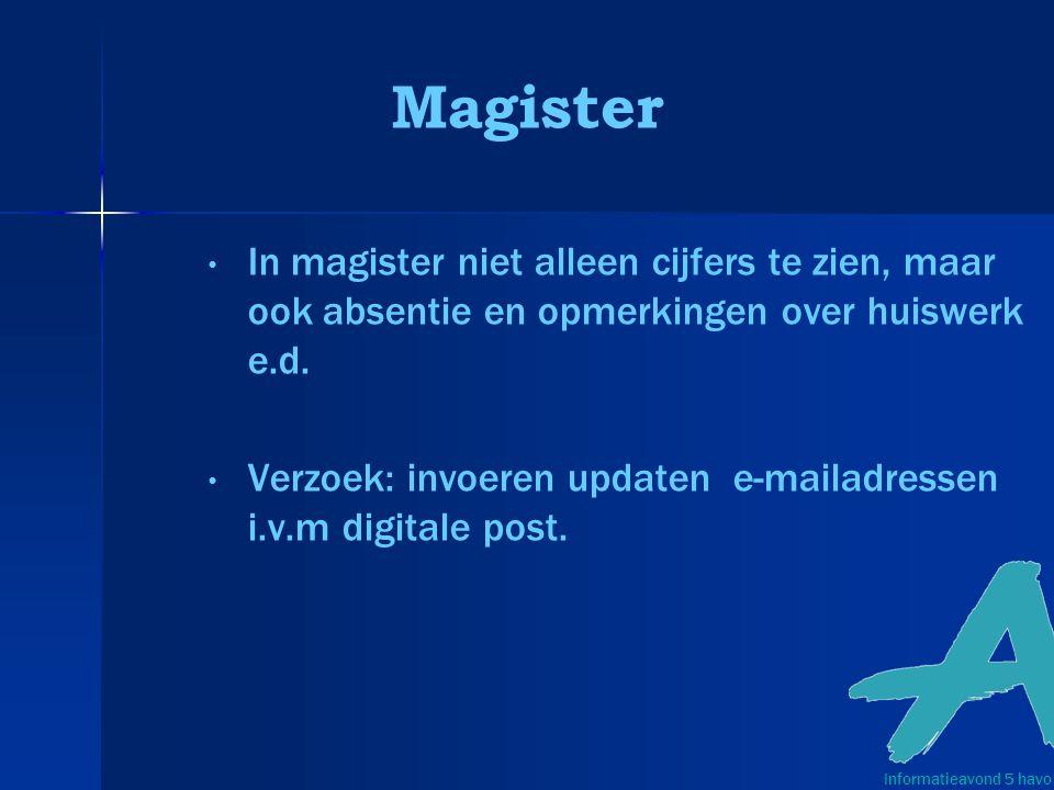 Magister In magister niet alleen cijfers te zien, maar ook absentie en opmerkingen over huiswerk e.d.