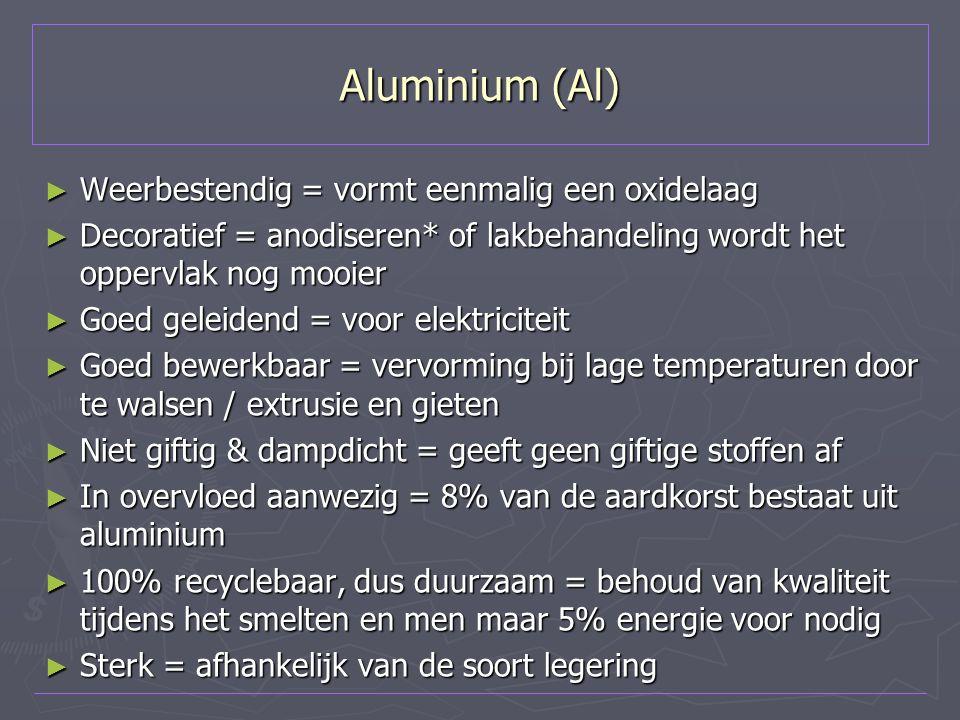 Aluminium (Al) Weerbestendig = vormt eenmalig een oxidelaag