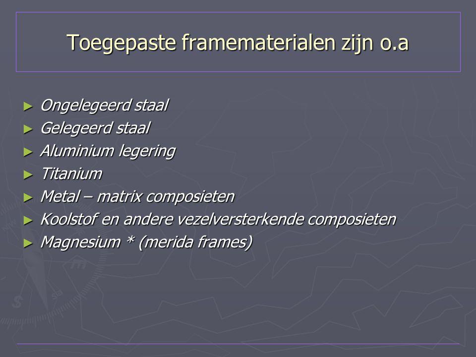 Toegepaste framematerialen zijn o.a
