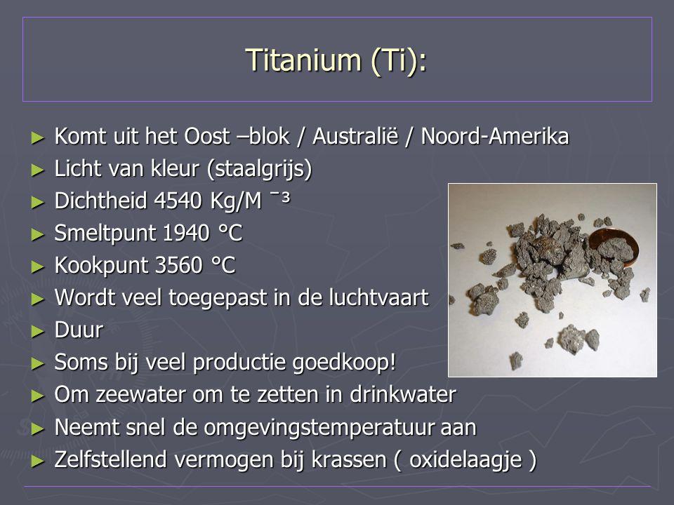 Titanium (Ti): Komt uit het Oost –blok / Australië / Noord-Amerika