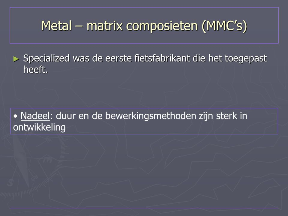 Metal – matrix composieten (MMC's)