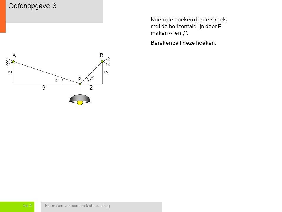 Oefenopgave 3 Noem de hoeken die de kabels met de horizontale lijn door P maken en . Bereken zelf deze hoeken.
