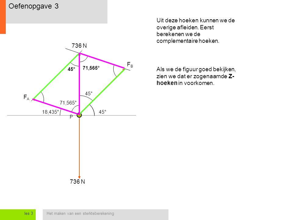 Oefenopgave 3 Uit deze hoeken kunnen we de overige afleiden. Eerst berekenen we de complementaire hoeken.