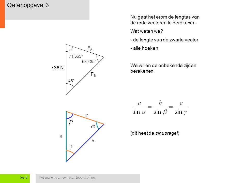 Oefenopgave 3 Nu gaat het erom de lengtes van de rode vectoren te berekenen. Wat weten we - de lengte van de zwarte vector.