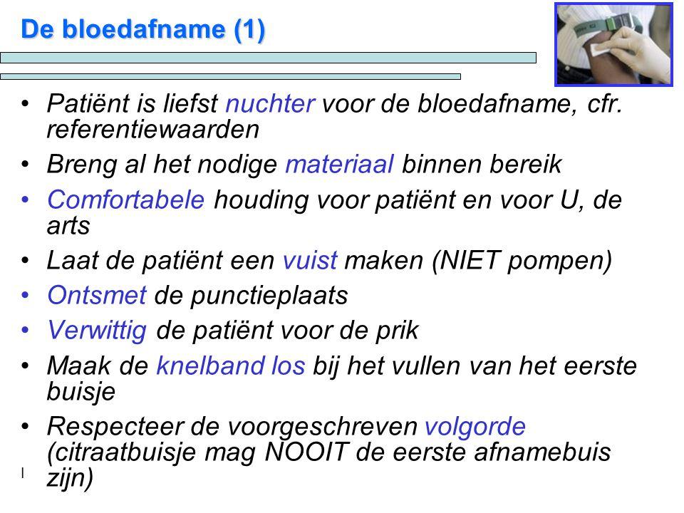 Patiënt is liefst nuchter voor de bloedafname, cfr. referentiewaarden