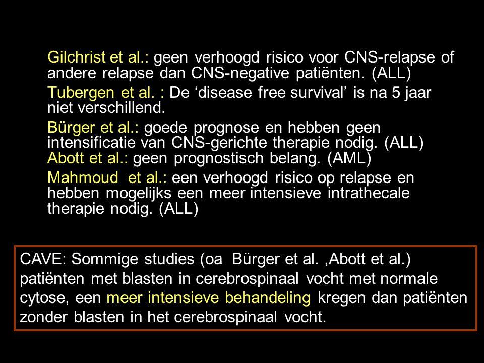 Gilchrist et al.: geen verhoogd risico voor CNS-relapse of andere relapse dan CNS-negative patiënten. (ALL)