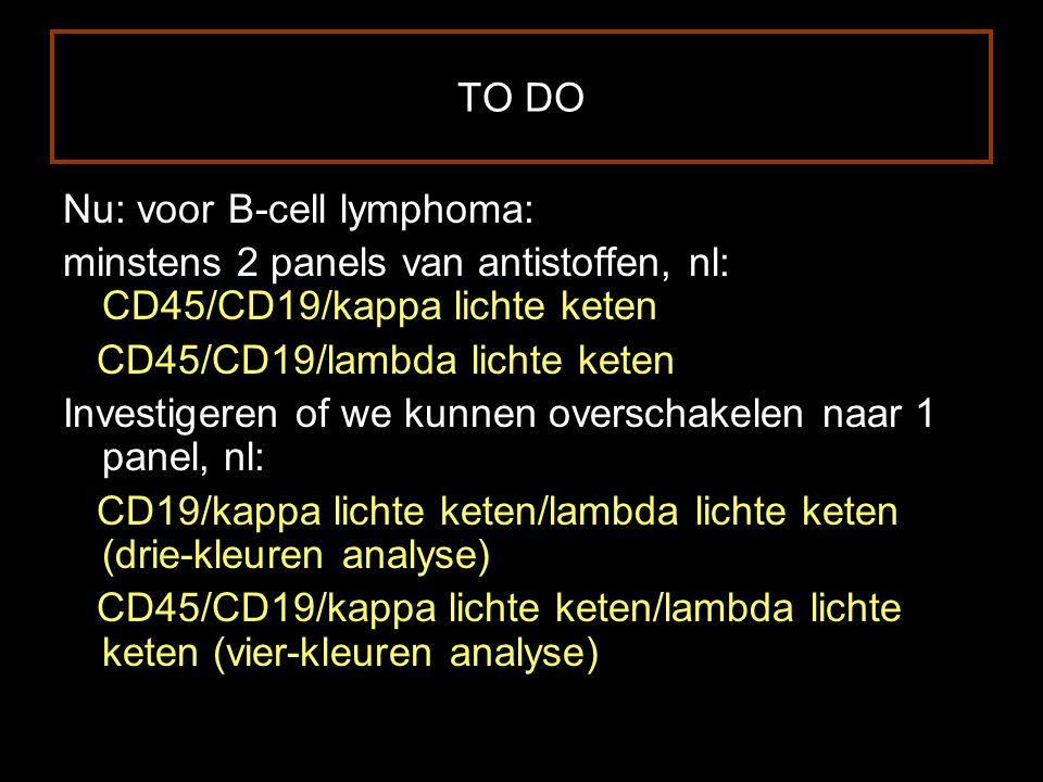 TO DO Nu: voor B-cell lymphoma: minstens 2 panels van antistoffen, nl: CD45/CD19/kappa lichte keten.