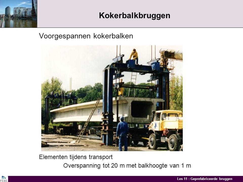 Kokerbalkbruggen Voorgespannen kokerbalken Elementen tijdens transport