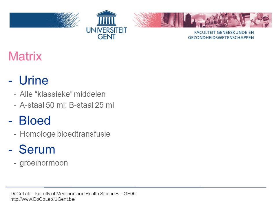 Matrix Urine Bloed Serum Alle klassieke middelen