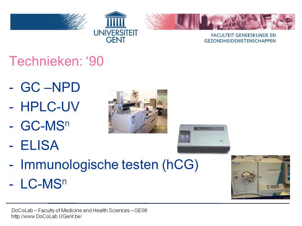 GC –NPD HPLC-UV GC-MSn ELISA Immunologische testen (hCG) LC-MSn