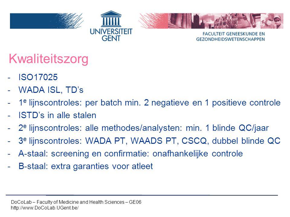 Kwaliteitszorg ISO17025 WADA ISL, TD's