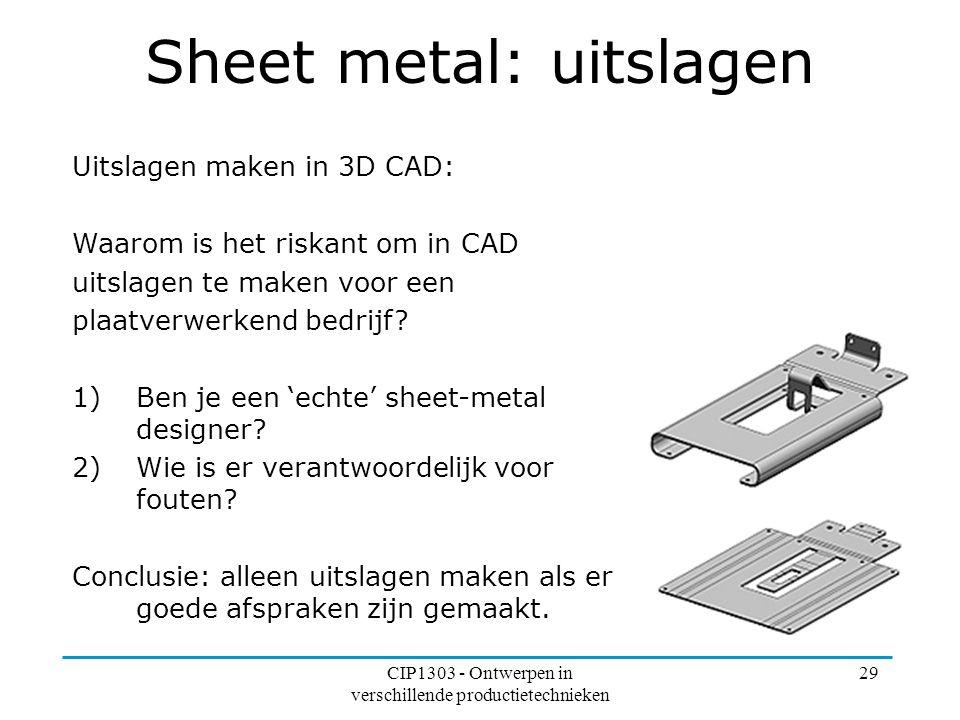Sheet metal: uitslagen