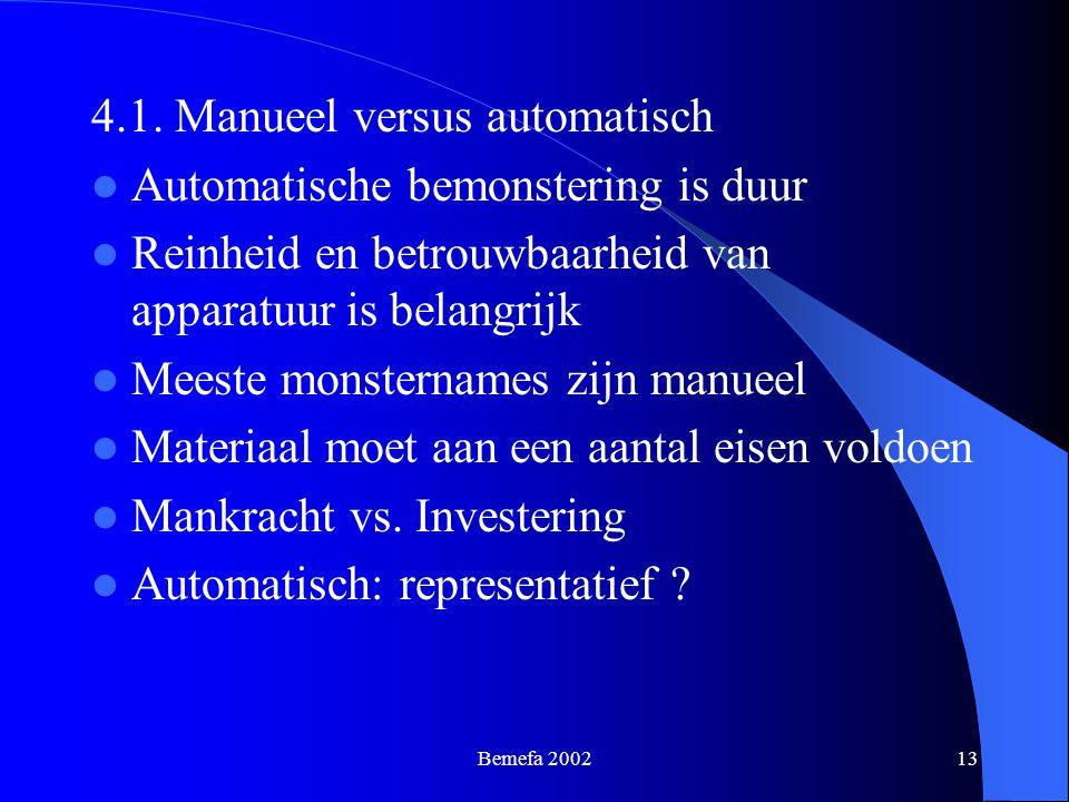 4.1. Manueel versus automatisch Automatische bemonstering is duur