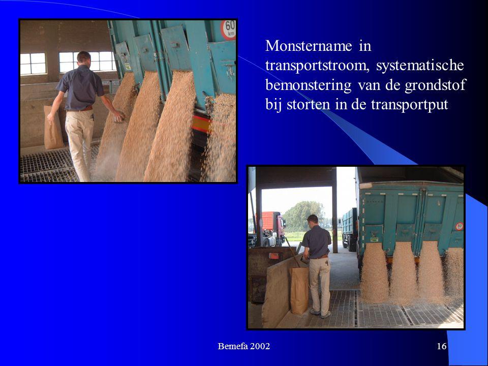 Monstername in transportstroom, systematische bemonstering van de grondstof bij storten in de transportput