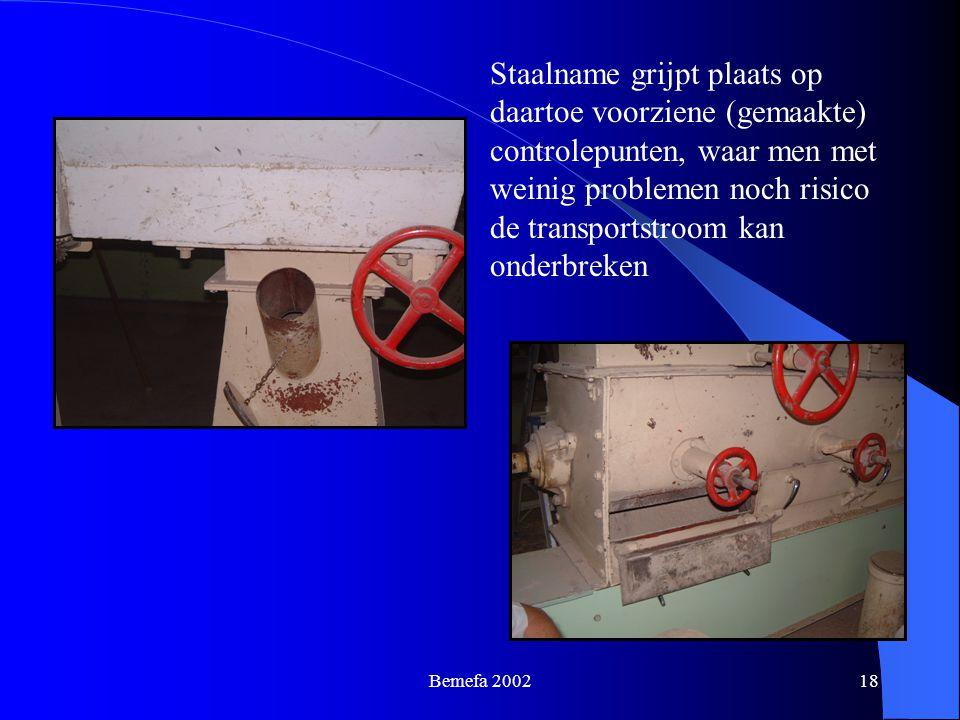 Staalname grijpt plaats op daartoe voorziene (gemaakte) controlepunten, waar men met weinig problemen noch risico de transportstroom kan onderbreken