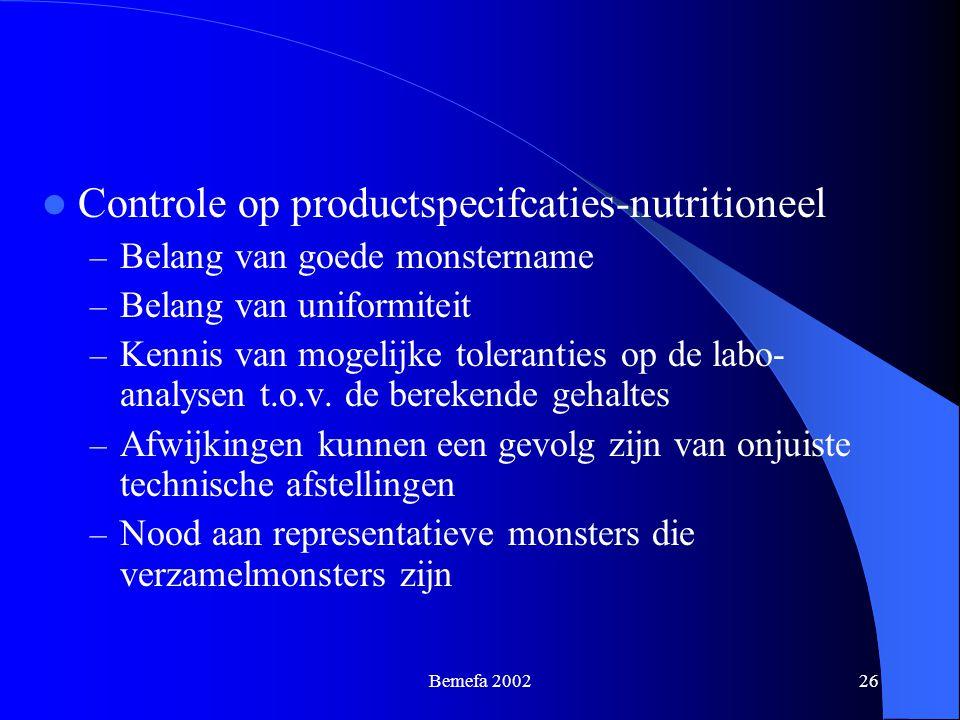 Controle op productspecifcaties-nutritioneel
