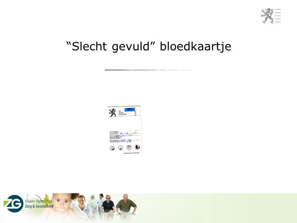 Slecht gevuld bloedkaartje
