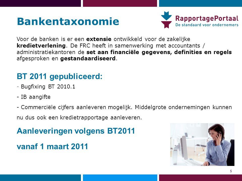 Bankentaxonomie BT 2011 gepubliceerd: Aanleveringen volgens BT2011
